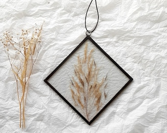 Foliage pressed flower glass frame, dried wildflowers, wall hanging decor, hanging stained glass frame, home living decor, Mothers day gifts