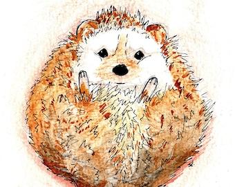 "Handmade postcard with hedgehog//""good morning""//fun to send"