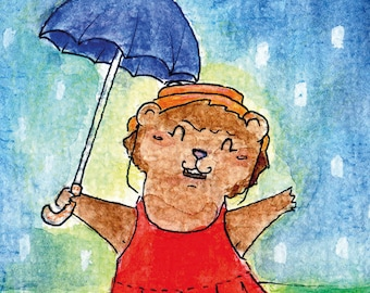 """Handmade postcard with cheerful bear//""""never underestimate a good outfit on a rainy day""""//fun for on the wall"""