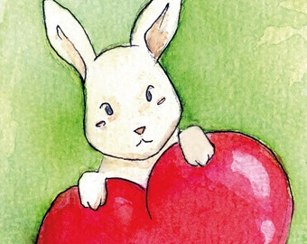 """Handmade postcard with lovable rabbit//""""Somebunny loves you""""//nice to give"""