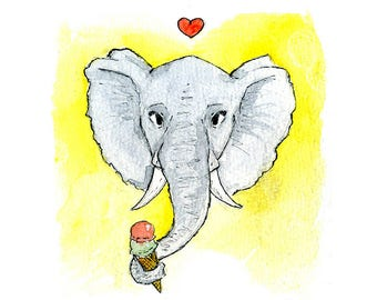 """Handmade postcard with elephant//""""eat dessert first you'll live longer""""//fun to give or send it"""