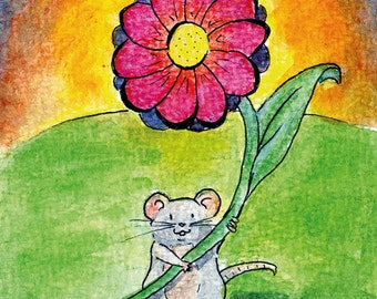 """Handmade postcard with little mouse//""""it's the little things that matter""""//nice to give"""