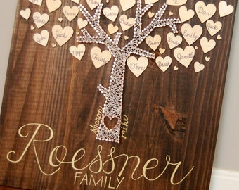 Large Family, Nail and String, Family Tree, Modern, Hearts, Grandparents, parents and Grandchildren, Our Family Center, Heart, Contemporary