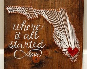 Florida Red Heart, Where it all started, Love, Infinity, Red Heart, Copper, Wedding or Anniversary Gift, Nail and String Art