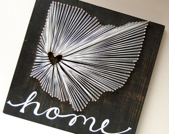 Ohio string art, black and white