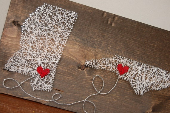 Two States String Art With Hearts Nail And String Or Thread Etsy