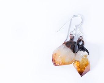 Raw crystal earrings   Citrine crystal earrings   Citrine earrings   Rough Citrine crystal earrings   Raw gemstone jewelry