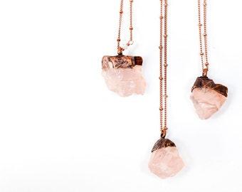 Rose Quartz crystal necklace | Electroformed crystal necklace | Raw crystal necklace | Rose Quartz crystal jewelry