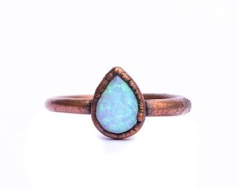 Teardrop opal ring | Natural stone ring | Opal ring | Opal Jewelry | October Birthstone Jewelry | October Birthstone ring