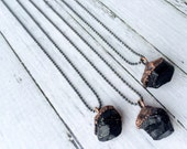 Raw tourmaline necklace | Black tourmaline sterling silver crystal necklace | Electroformed tourmaline necklace | Raw tourmaline jewelry