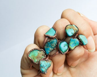 Turquoise nugget ring | Raw turquoise stacking ring | Turquoise stone ring | Nevada turquoise jewelry | Organic stone jewelry | Mineral ring