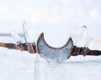 Crystal Moon Tiara | Quartz Crystal Crown | Quartz Crystal Headband | Quartz Coronet | Celestial Headband