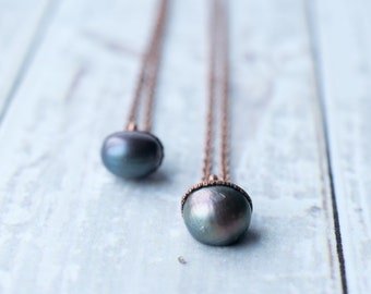 Pearl Necklace | Dark Pearl Necklace | Freshwater Pearl Jewelry | Organic gemstone jewelry