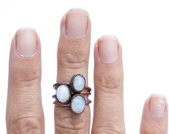 Rainbow moonstone ring | Simple stone stacking ring | Moonstone stacking ring | Electroformed mineral jewelry | Organic stone jewelry