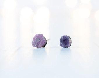 Untreated ruby earrings | Red ruby earrings | Untreated ruby jewelry | Natural stone studs | Genuine ruby studs