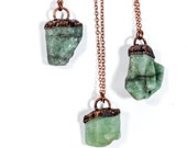 Emerald crystal necklace | Raw emerald necklace | Emerald necklace | Green emerald stone pendant on copper chain | Rough emerald crystal