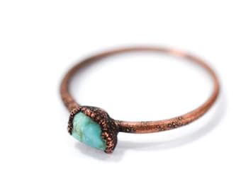 Tiny Turquoise nugget ring | Raw turquoise stacking ring | Birthstone Jewelry | Nevada turquoise jewelry | December Birthstone Ring