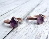 Amethyst ring | Amethyst crystal ring | Purple amethyst and copper ring | Raw crystal jewelry | Amethyst statement ring | Natural amethyst