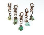 Turquoise keychain   Raw crystal keychain   Turquoise crystal key clip   Raw turquoise keychain   Southwest gift   Raw mineral keychain