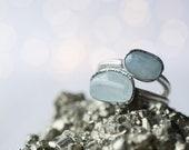 Oxidized Silver Aquamarine ring | Raw aquamarine ring | March birthstone ring | March Birthstone jewelry | Tumbled Aquamarine Ring