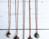 Beach pebble necklace | Raw stone necklace | Beach stone necklace | Pebble pendant on copper chain | Marthas Vineyard beach pebble necklace