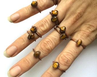 Tiger's eye ring | Simple tiger eye stacking ring | Tiger's eye stacking ring | Electroformed tiger's eye jewelry | Organic stone jewelry