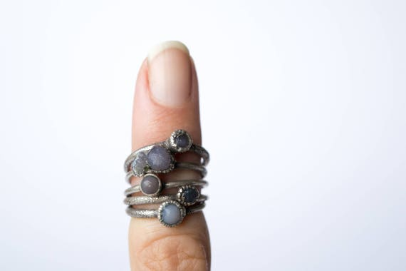 Grape Agate Ring Purple Agate Electroformed Ring