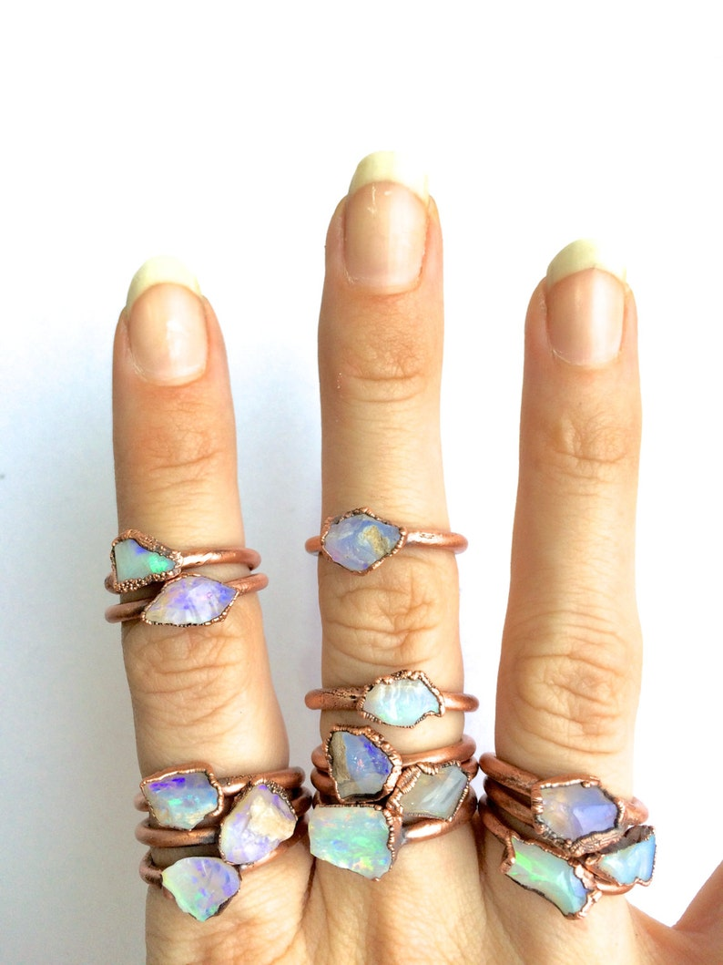 Raw opal ring  Australian opal ring  Rough opal ring  Raw image 0