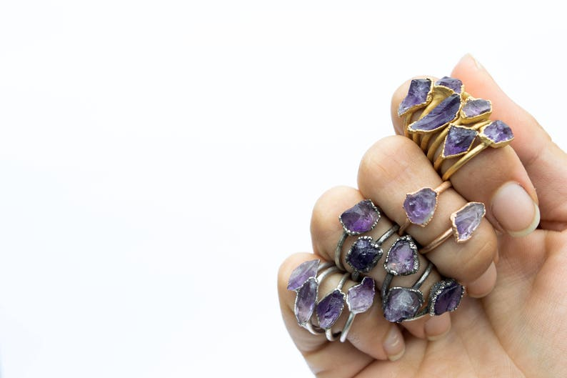 Amethyst ring  Amethyst birthstone jewelry  Stackable image 0