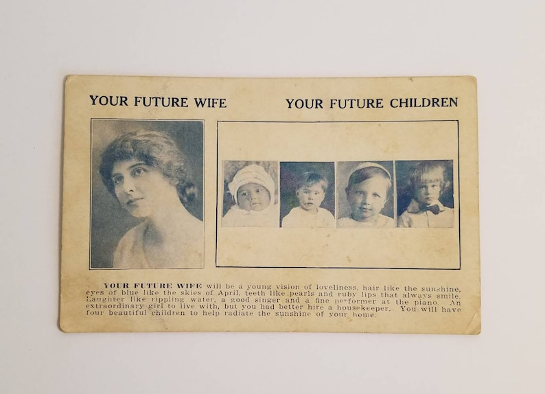 Vintage Fortune Teller Card - Your Future Wife Your Future Children - 1930s  - Zoltar - Vintage Carnival - Vintage Circus