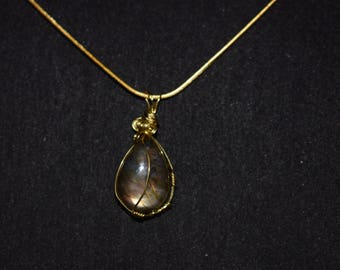 Wire wrapped Labradorite pendants