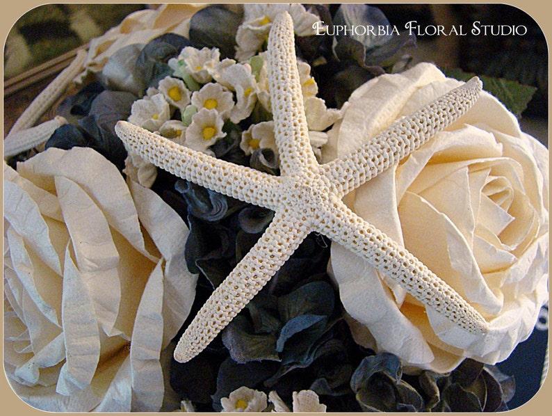Blue Nautical Wedding Bouquet with Roses Cream Starfish and Hygrangea Beach Wedding