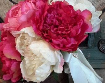 Pink Peony Bouquet, Wedding Bouquet, Peony Bouquet