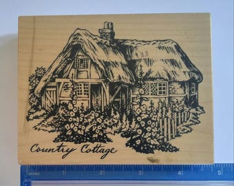 PSX Country Cottage Heart Gate K-1459 Wood Mounted Rubber Stamp large X RARE 1995 new