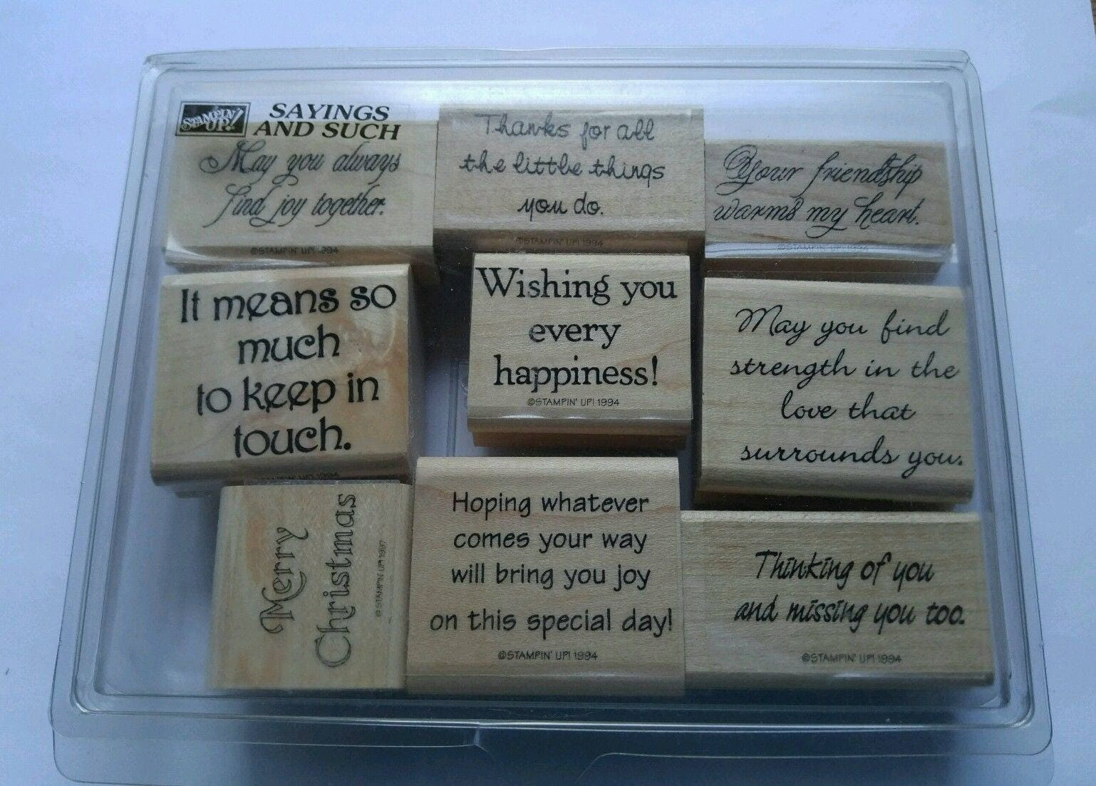 Stampin up sayings such retired set lot of 9 new 1994 phrases for get shipping estimate m4hsunfo