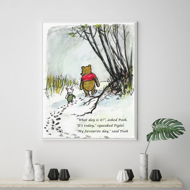 0afa56e5b8 Winnie the Pooh Quotes What day is it Print Disney Pooh