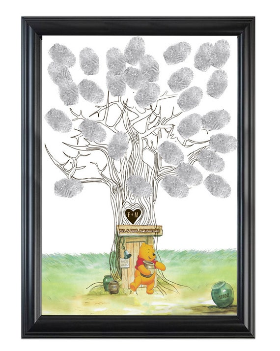 winnie the pooh wedding tree finger prints baby shower guest etsy