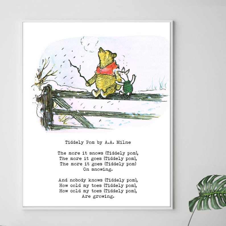Winnie The Pooh Quote Print Tiddely Pom By A.A. Milne The