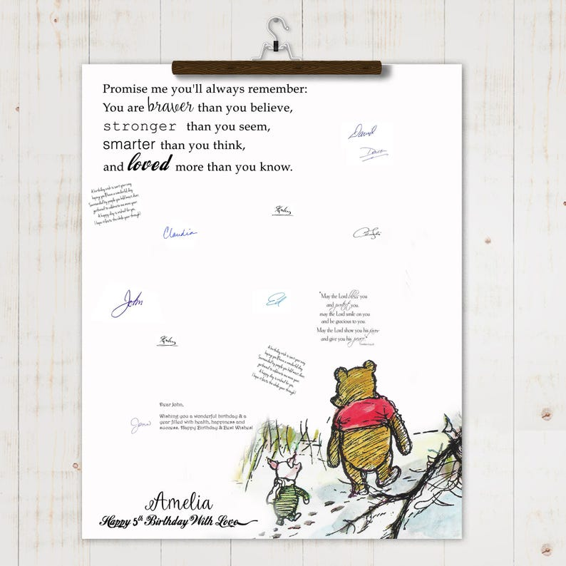 """Handmade Personalised 6/"""" Square Baby Shower Card Winnie the Pooh Quote"""