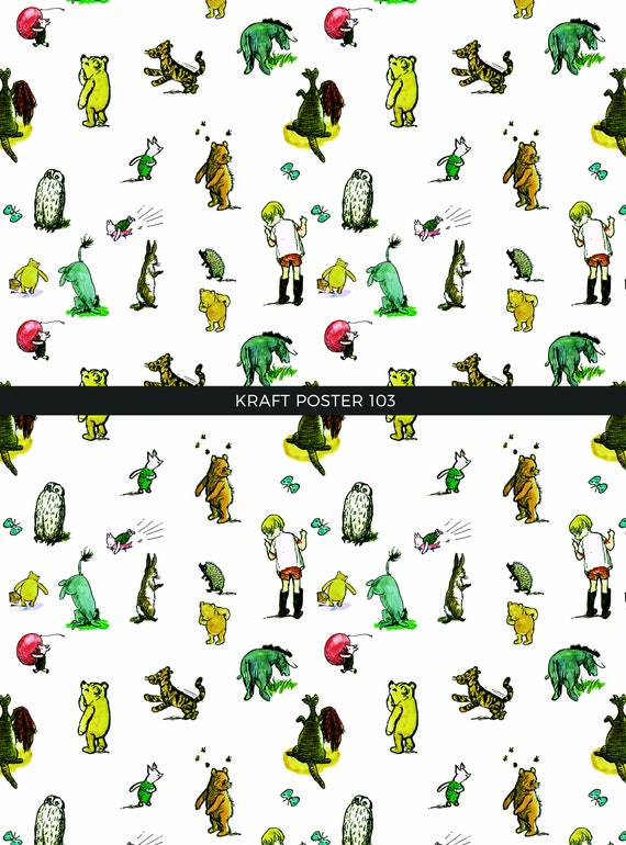 Winnie The Pooh Gift Wraps Party Wrapping Papersbear Print Etsy
