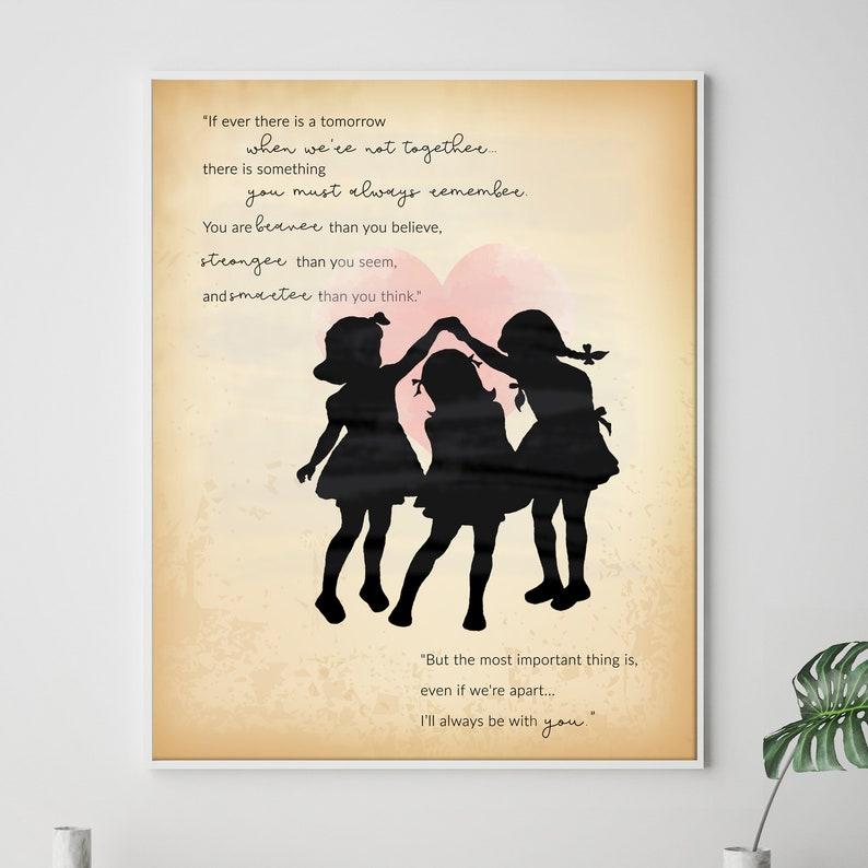 Personalised Sister Love quote, If ever there is a tomorrow when we're not  together, Girls Silhouette prints, Friendship quotes