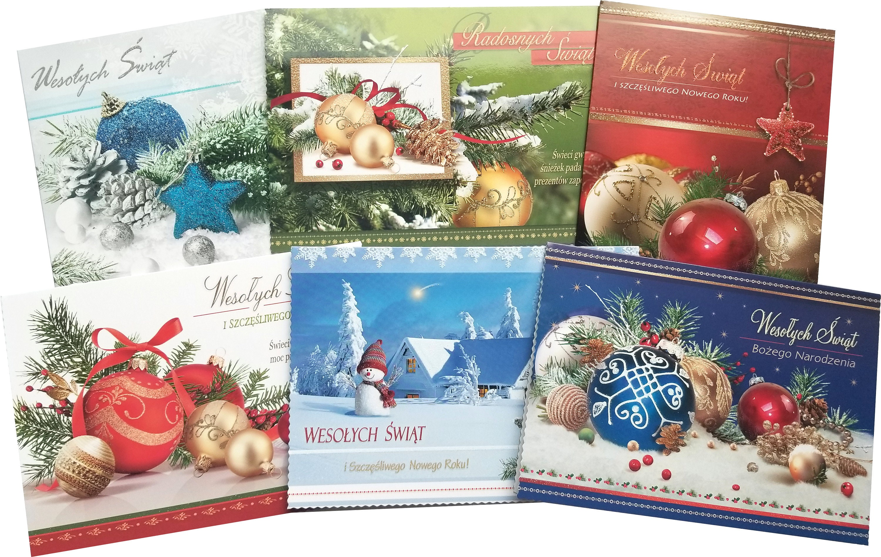 Traditional Polish Christmas Greeting Cards with Glitter Set | Etsy