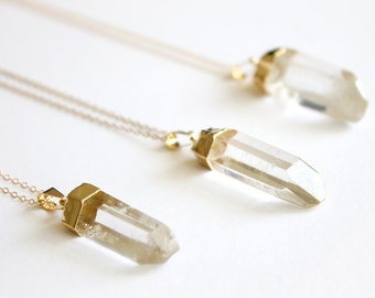 Quartz Point Necklace - 14k Gold Filled Necklace - Raw Quartz - Crystal Necklace - Clear Quartz - Healing Crystal - Raw Crystal Necklace