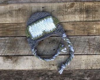 Baby Ski Hat With Goggles, Crochet Baby Snowboarding Hat, Newborn Snowboarding Photo Prop