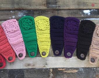Women's Ear Warmer Crochet Earwarmer Headband Head Wrap With Button Closure and Flower - ANY COLOR