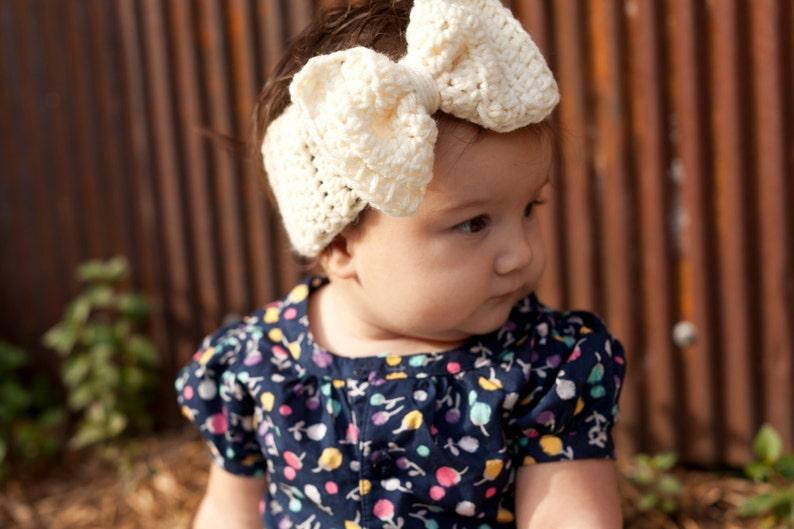 Crochet Big Bow Ear Warmer For Babies Baby headband Baby ear  18cffdfa9a8