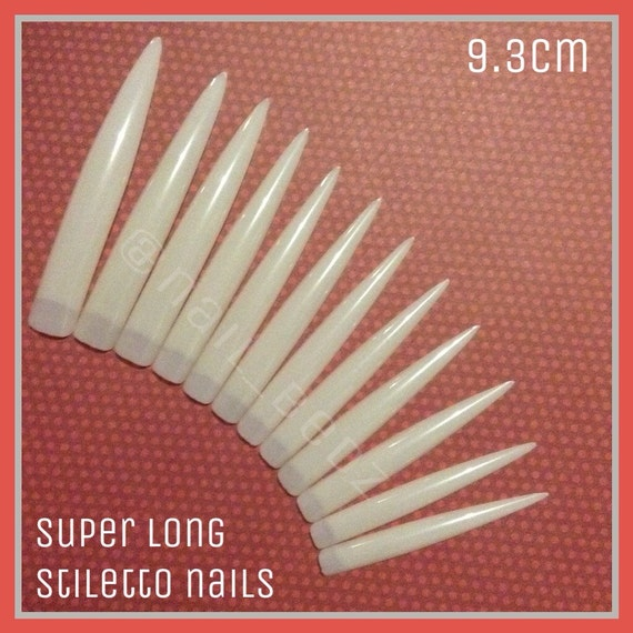 Longest length! Super long stiletto nails! 9cm from NAILBEDZ on Etsy ...