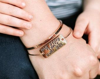 My Story Isn/'t Over Yet Antique Silver Tone Braid Inspiration Bracelet SB64