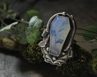 moonstone coffin ring woodland leaf resizeable size 9 sterling silver oxidized Nearly Lost Jewelry