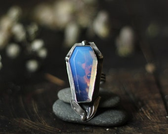 moth painted lady butterfly moonstone coffin ring victorian custom size 6 sterling silver oxidized Nearly Lost Jewelry